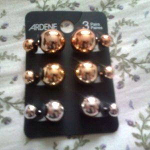 Metallic Ball Earrings (3 pairs)